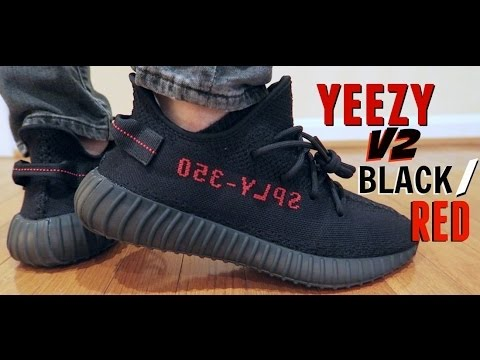 Cheap Yeezy 350 Boost V2 Bred SPLY 350 Black Red Unboxing