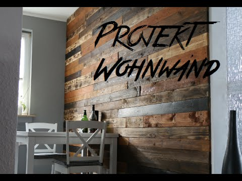 diy design wohnwand aus europaletten pallet wood wall palettenholz youtube. Black Bedroom Furniture Sets. Home Design Ideas