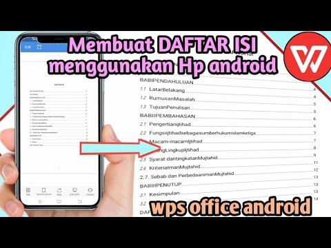 Cara Membuat Daftar Isi Di Wps Office Android Youtube