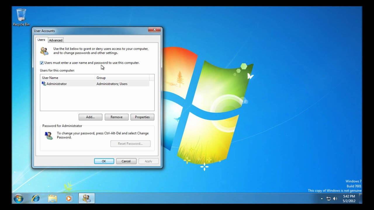 remove password requirement windows 7