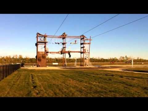 ZipLining From the Climbing Course at Adrenaline Adventures in Winnipeg, MB