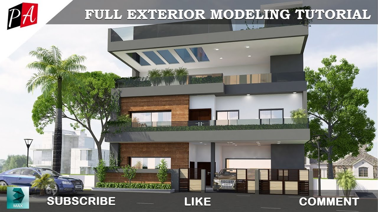 3d Max Full Exterior Modeling Tutorial Youtube