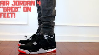 d2acc8f065c555 2019 JORDAN 4 IV  quot BRED quot  ON FEET! WATCH BEFORE YOU BUY