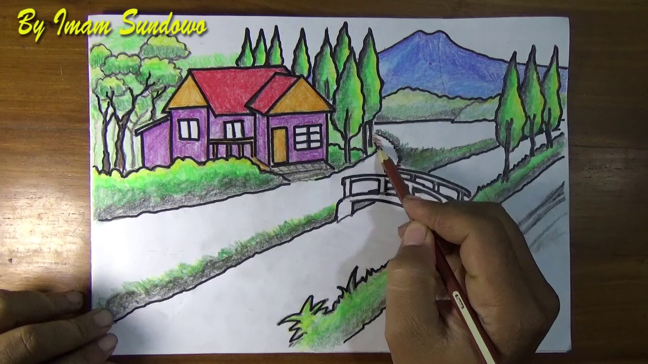 Menggambar Pemandangan Alam Desa Draw Landscapes Village Youtube