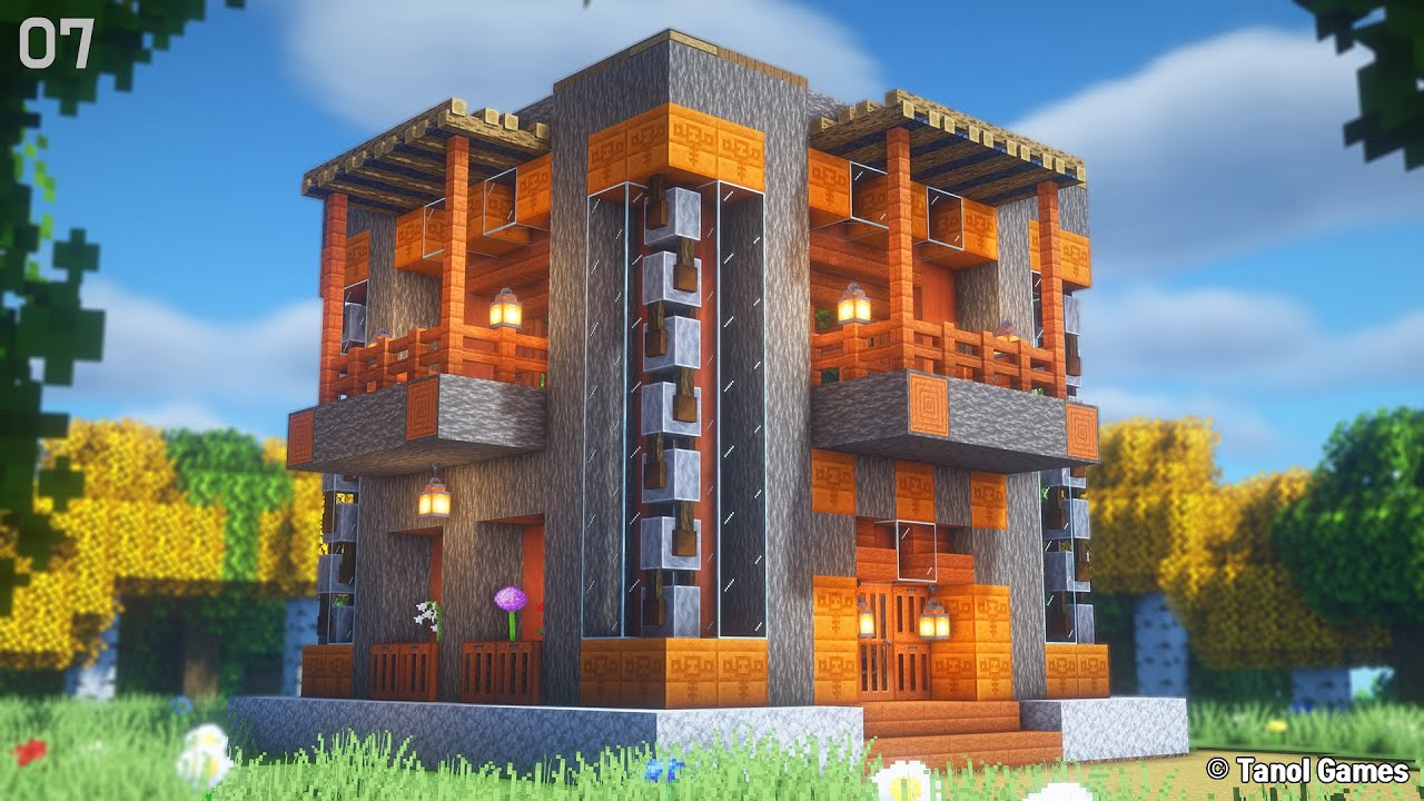 Minecraft: How to Build a Survival Acacia Wooden House  (tutorial) [마인크래프트 건축 야생 집 인테리어]