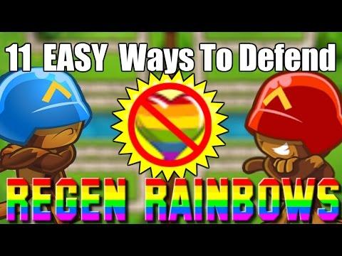 11 Ways to EASILY Defend Regrow Regen Rainbows! (Bloons TD Battles Mobile)