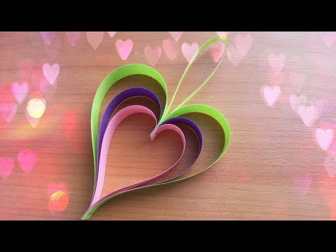 DIY Super Easy Hearts out of Paper Strips. Valentines Day Crafts Ideas