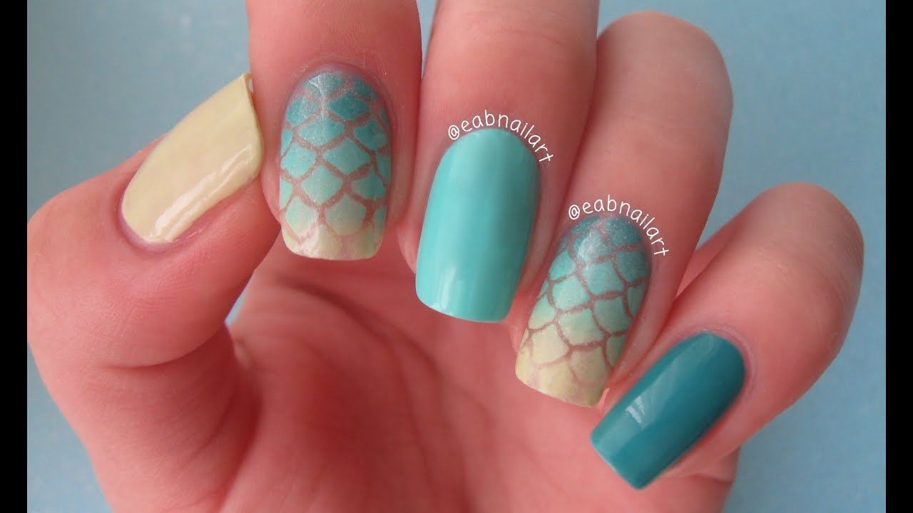 Mermaid Nail Art Tutorial - Mermaid Nail Art Tutorial - YouTube