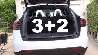 Tesla Model X Rear Cargo & Trunk Space - How many suitcases with 3rd row folded? (4K)
