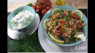 Erfrischender Couscous Salat mit frischen Kräutern und Zaziki I