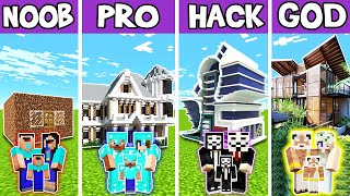 Minecraft: FAMILY RICH MANSION BUILD CHALLENGE - NOOB vs PRO vs HACKER vs GOD in Minecraft