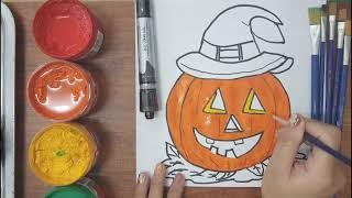 Draw the magic pumpkin- vẽ và tô màu quả bí ngô ma thuật/ Kenken TV