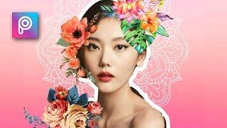 Edit Foto Terbaru - Cara Edit Foto Bunga (Potrait Floral Effect) - PicsArt tutorial Indonesia