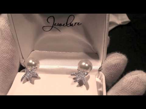 Jewelure 925 Silver Dancing Starfish CZ Pearl Earrings BEAUTIFUL!