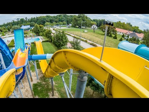 Spa and Wellness Center Sárvár - Solar Waterslide | Uphill Raft Slide Onride POV