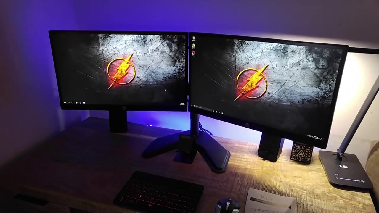 Desk Setup Tour U0026 Vivo Dual Monitor Desk Mount Stand Review. Giveaway  Details!!!