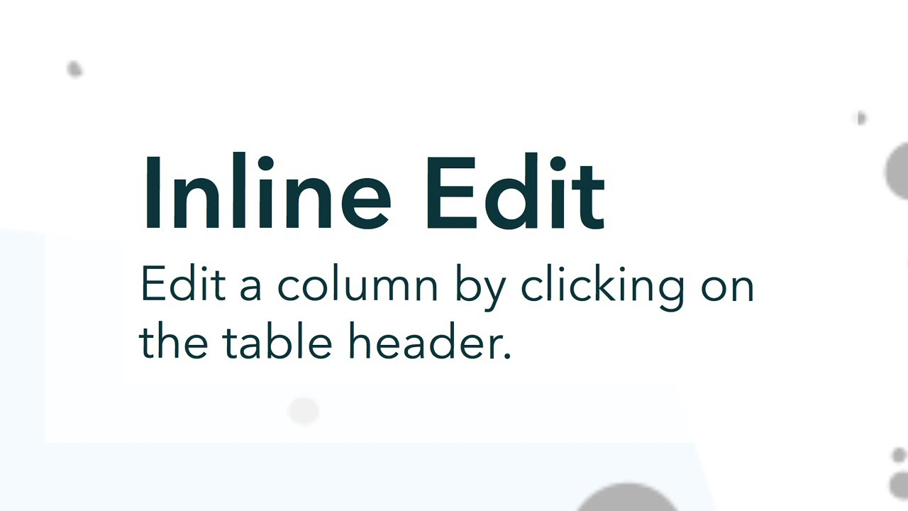 Inline Edit: Column Edit Mode