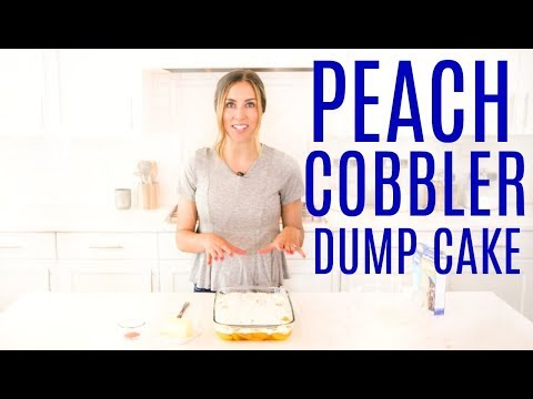 4 Ingredient Peach Cobbler Dump Cake! The EASIEST Recipe!