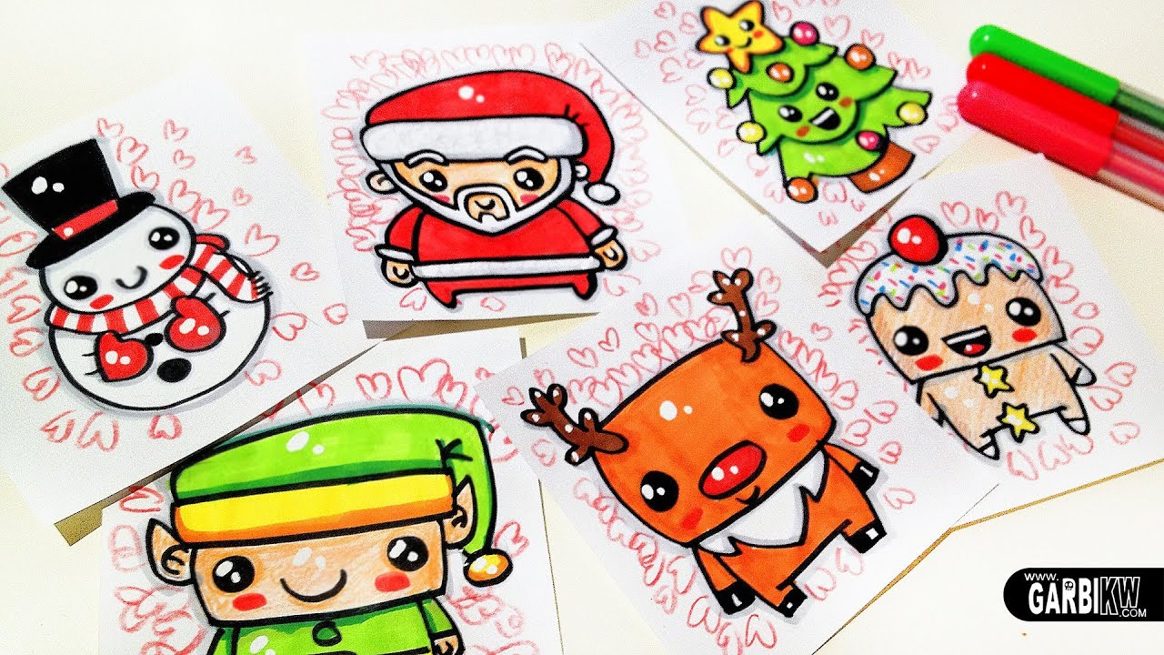 how to draw cute christmas easy and kawaii drawings by