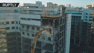 'Resident Evil': Huge crane crushes abandoned Moscow horror hospital (drone footage)