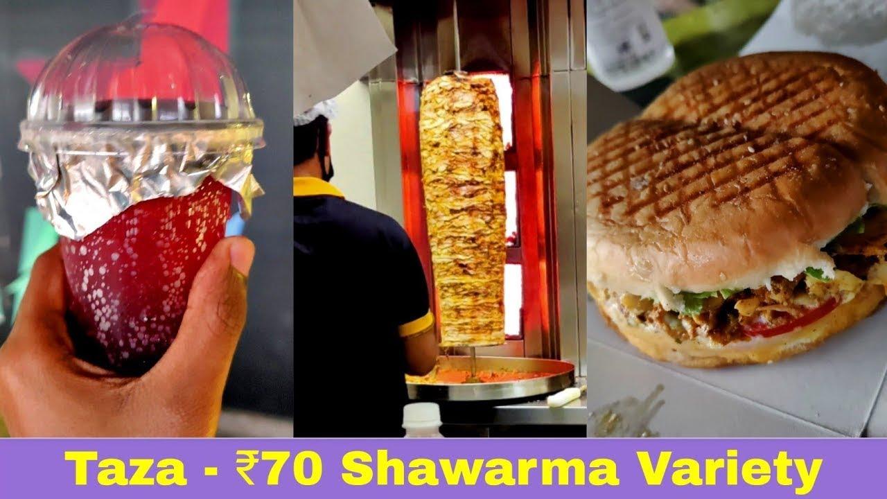 Burger Shawarma, Veg Shawarma, Full Meat Shawarma and Blueberry Mojito - Al Taza Kochi