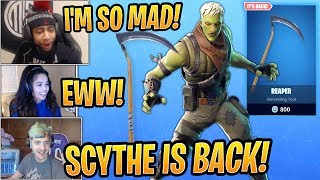 Streamers React to Scythe Pickaxe BACK and *NEW* Brainiac Skin! - Fortnite Best and Funny Moments