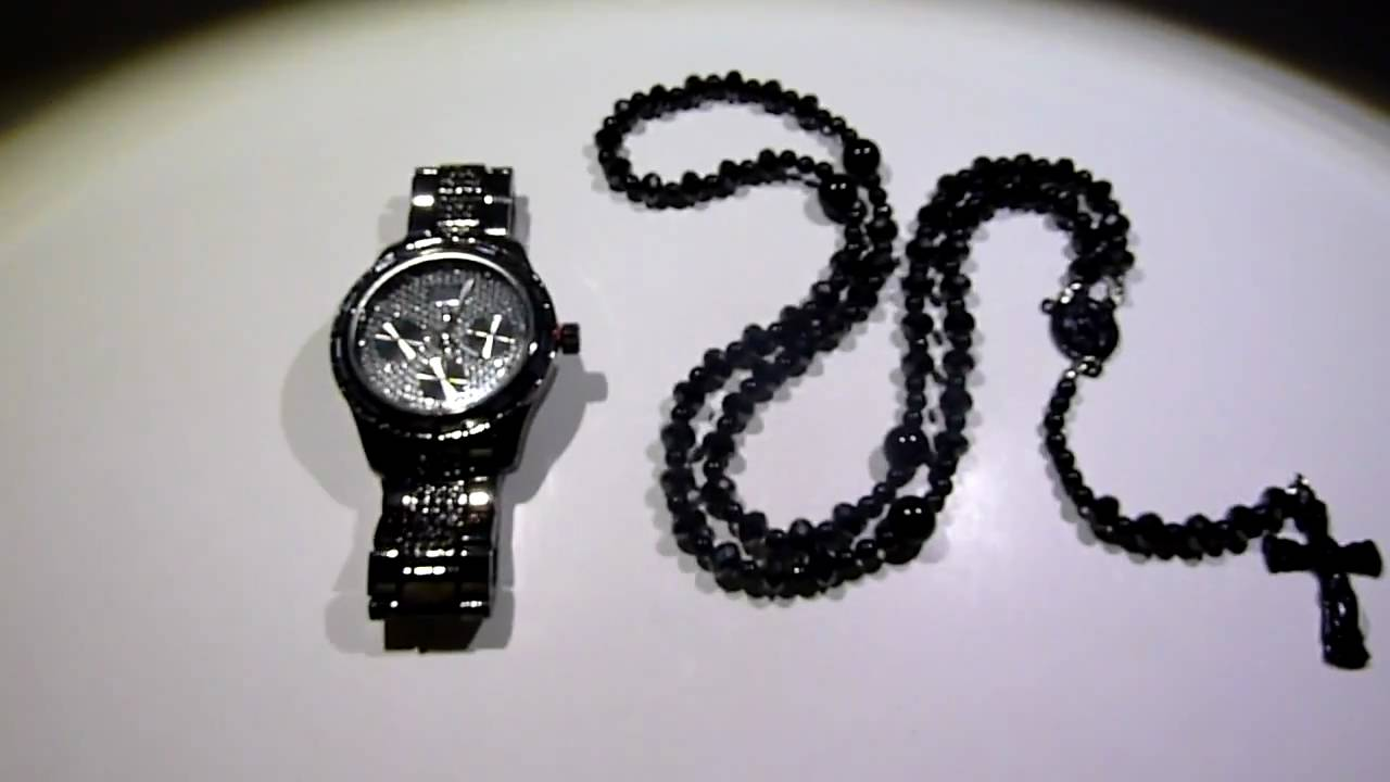 All Black Rick Ross Style Bead ROSARY Breitling Type Watch LAB MADE JEWELRY