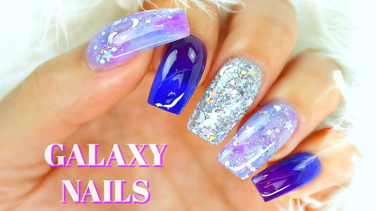 How to Do Galaxy Nails With Acrylic - YouTube