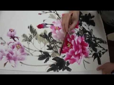 Traditional Chinese Watercolor Painting : Flower Painting With Bamboo Brush