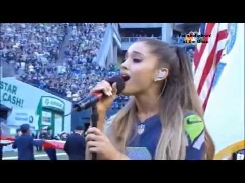 Ariana Grande Performing the National Anthem at the NFL Kickoff 2014