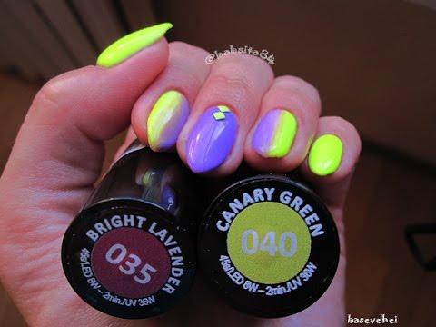 Manicure Hybrydowy Semilac Ombre Fiolet żółty Neon Basevehei