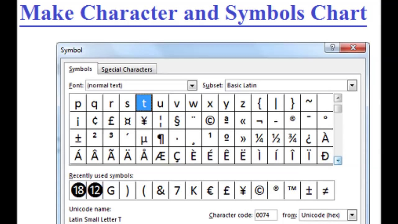 Special Characters And Symbols Hindi Youtube