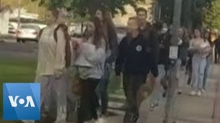 Student Films Schoolmates Evacuating as He Arrives Late to California High School
