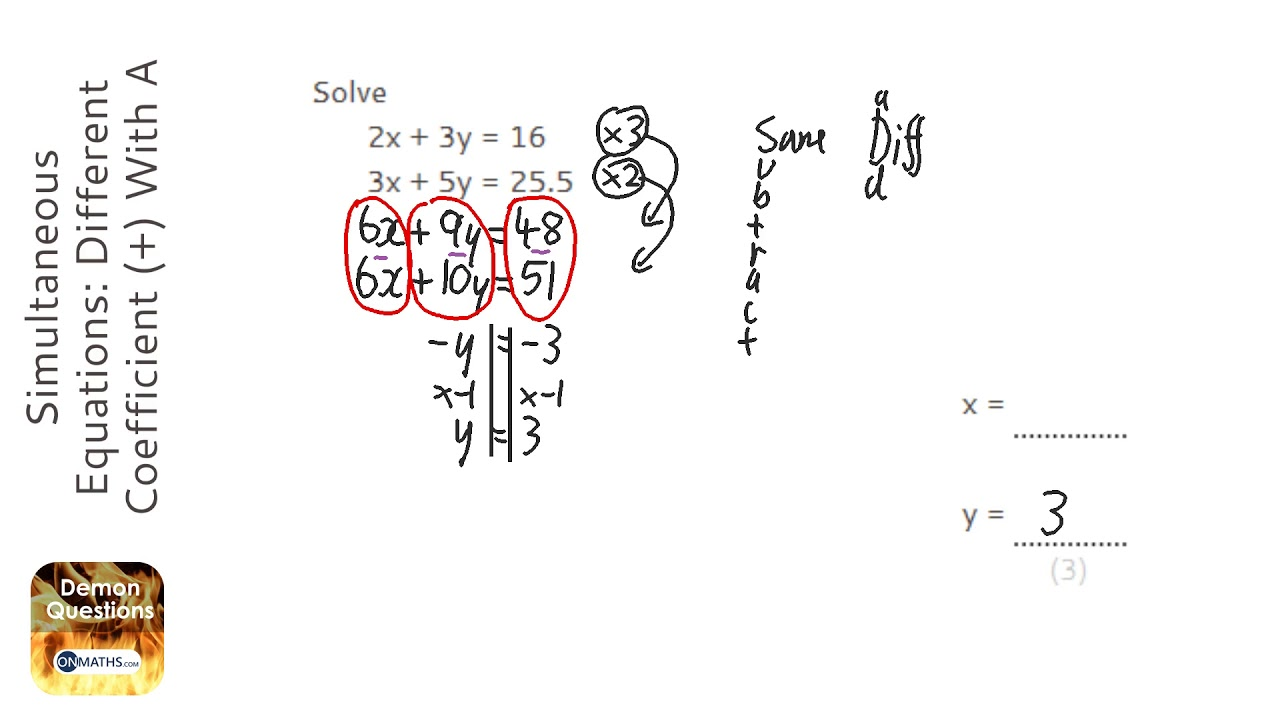 Simultaneous Equations: Different Coefficient (+) With A