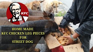 A group of Street dog eat 20 kg chicken leg pieces || Feeding not only monkeys but also dogs