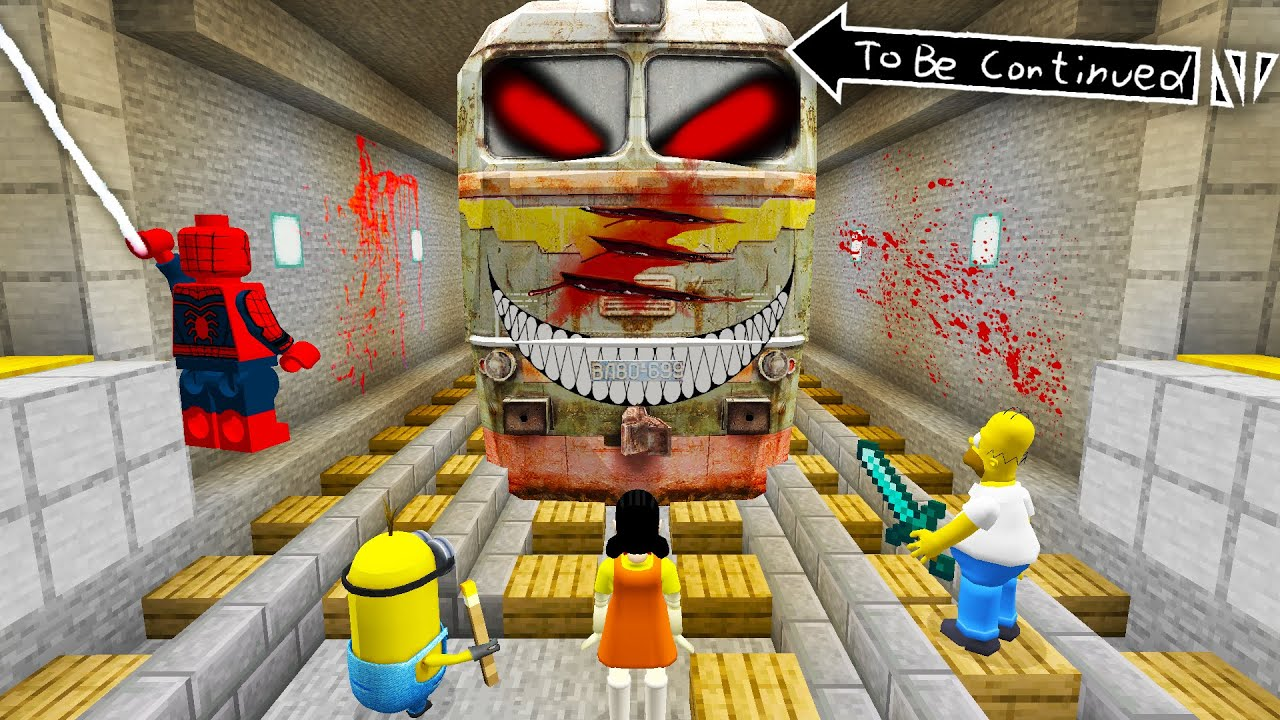Download SCARY METRO TRAIN vs SQUID GAME DOLL and SPIDER MAN and MINIONS in Minecraft ! SCARY METRO TRAIN