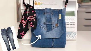 DIY Bolsa de Calça Jeans - English Subtitles - DIY Jeans Long Strip Bag From Old Jeans