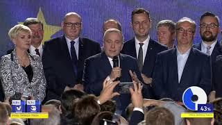 Grzegorz Schetyna przemawia po ogłoszeniu wyników wyborów do PE