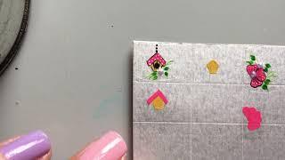 Adesivos de unhas na caixa de leite: Passo a passo  gaiolinha com flores candy colors