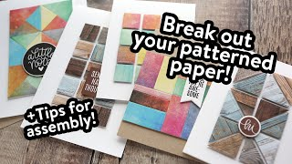 Tips for Paper Piecing on Cards! LOTS OF Patterned Paper!