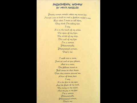 a personal opinion on phenomenal woman a poem by maya angelou Browse through maya angelou's poems and quotes 53 poems of maya angelou phenomenal woman, still i rise, the road not taken, if you forget me, dreams (born.