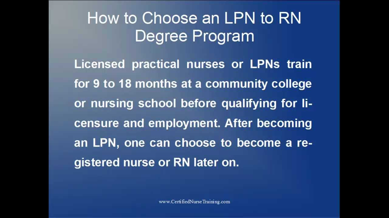 Choosing An Lpn To Rn Degree Program Youtube