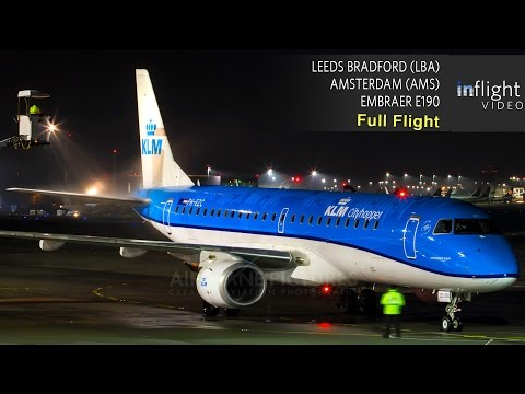 KLM Full Flight | Leeds Bradford to Amsterdam | Embraer E190 (Sunrise Flight/No ATC)