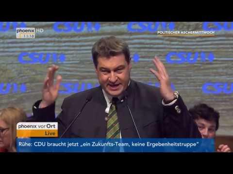 Politischer Aschermittwoch der CSU (Teil 2) mit Rede Markus Söder am 14.02.18