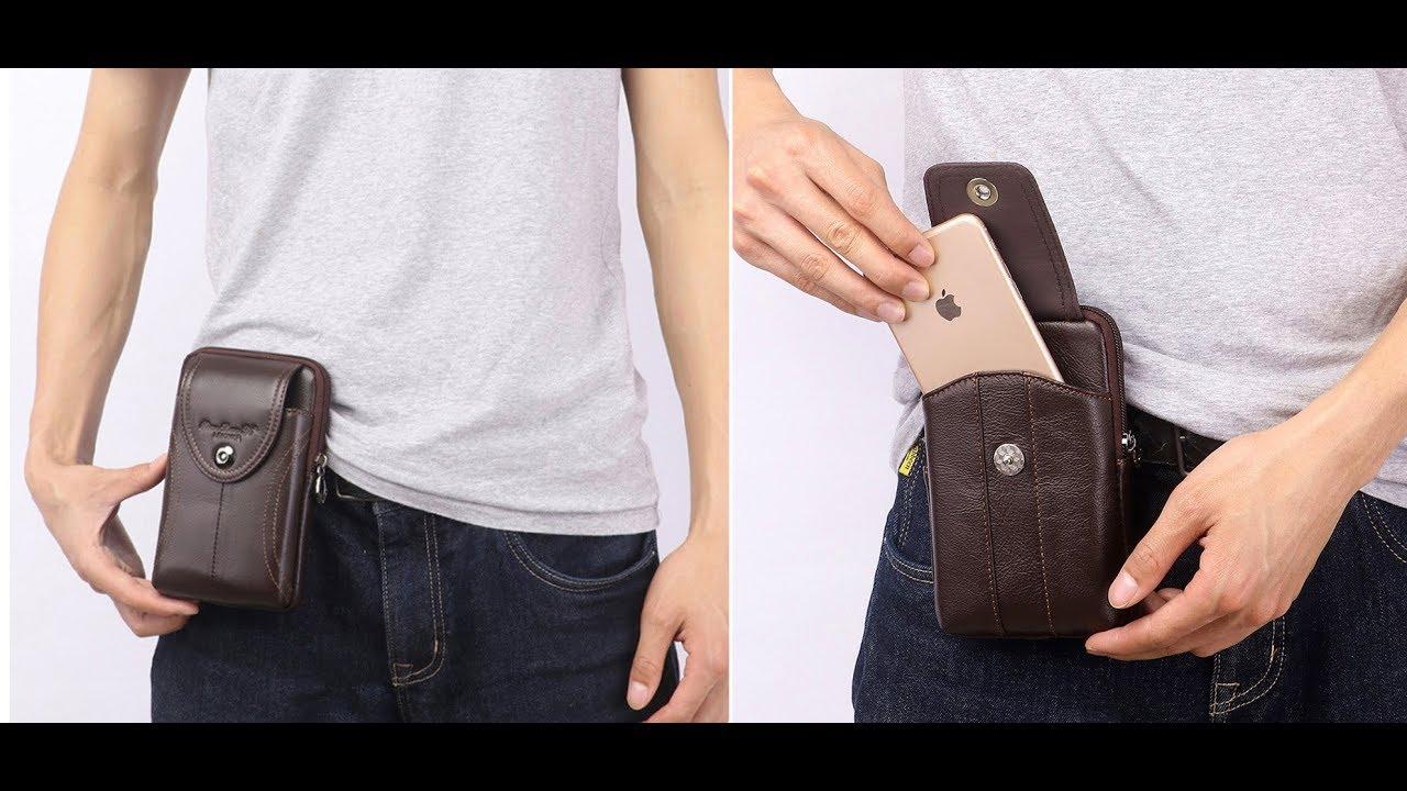 Túi Đựng Điện Thoại Đeo Thắt Lưng Bao da điện thoại đeo thắt lưng da bò để 2 điện thoại dọc