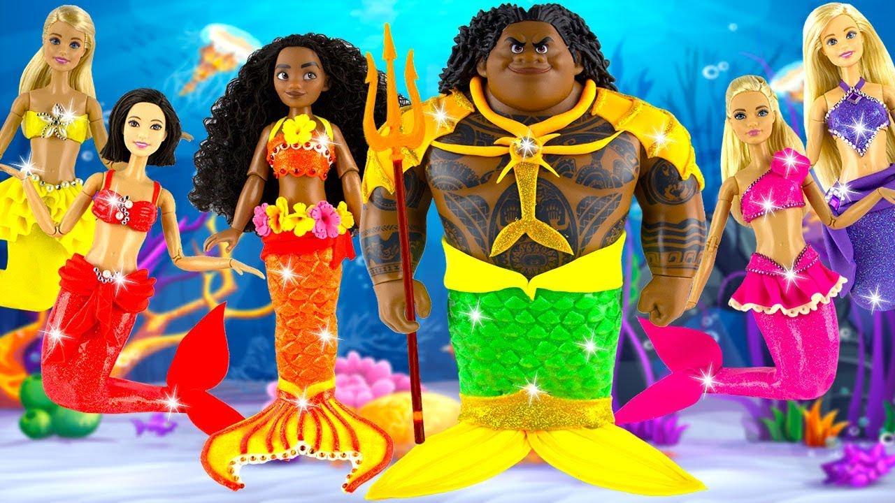 Play Doh Mermaid Moana Maui Rapunzel Aurora Cinderella Snow White