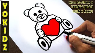 How to draw a TEDDY BEAR with a heart