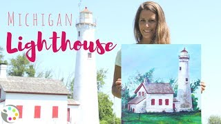 How to Paint a Lighthouse | Acrylic Painting Tutorial
