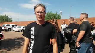 Bikers Against Bullies share their message outside the Palm Ridge Magistrates