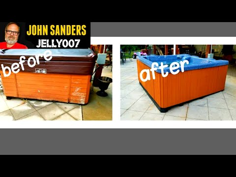HOT TUB MAKEOVER DIY Install New Siding LOOKS LIKE NEW step by step how to make over repair